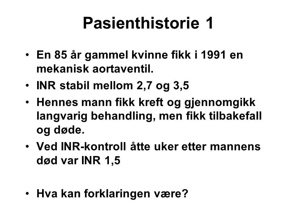 Pasienthistorie 1 En 85 år gammel kvinne fikk i 1991 en mekanisk aortaventil. INR stabil mellom 2,7 og 3,5.