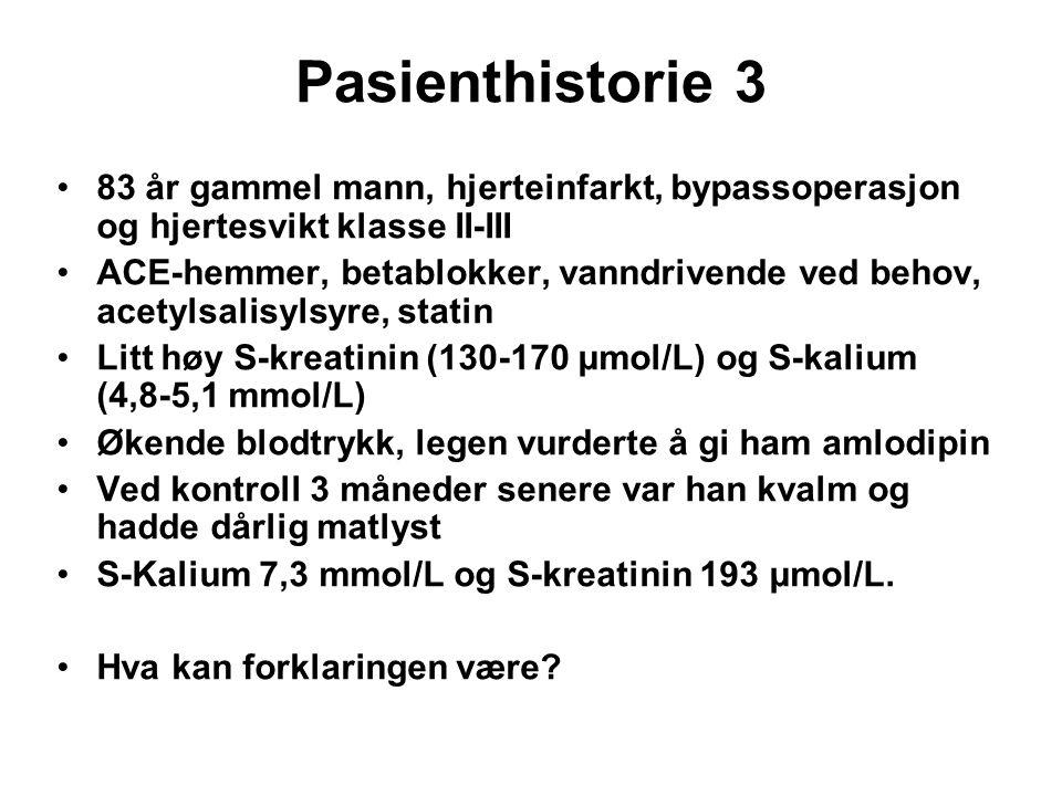 Pasienthistorie 3 83 år gammel mann, hjerteinfarkt, bypassoperasjon og hjertesvikt klasse II-III.