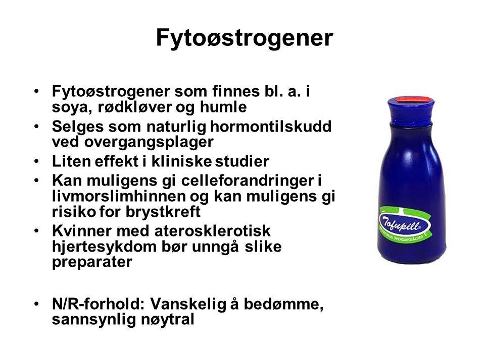 Fytoøstrogener Fytoøstrogener som finnes bl. a. i soya, rødkløver og humle. Selges som naturlig hormontilskudd ved overgangsplager.