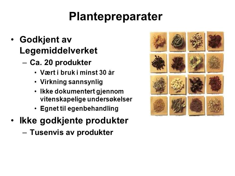 Plantepreparater Godkjent av Legemiddelverket Ikke godkjente produkter