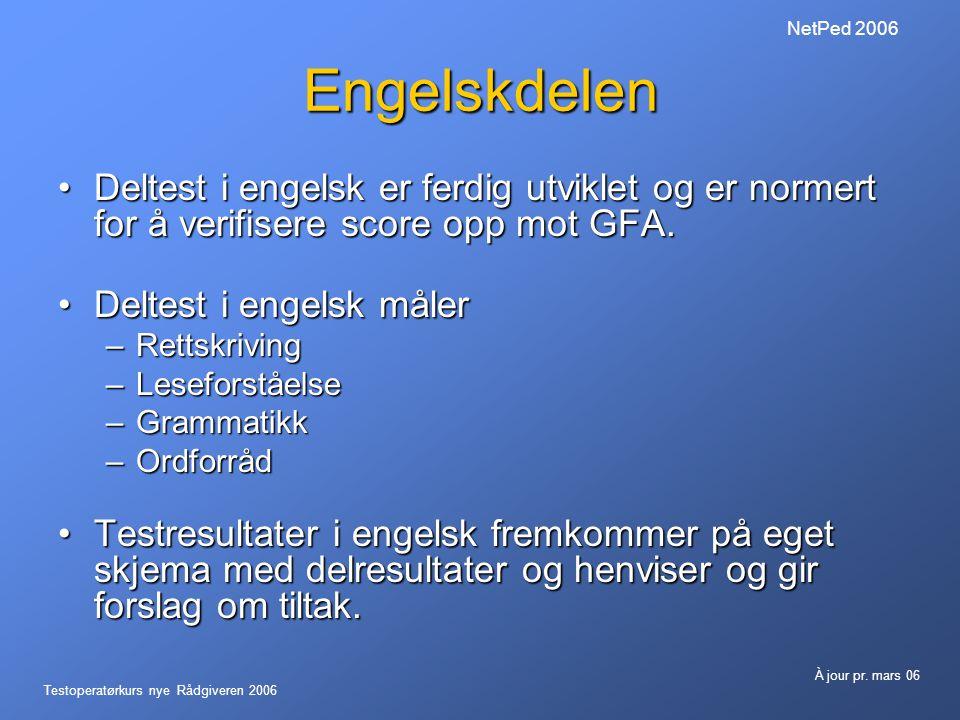 NetPed 2006 Engelskdelen. Deltest i engelsk er ferdig utviklet og er normert for å verifisere score opp mot GFA.