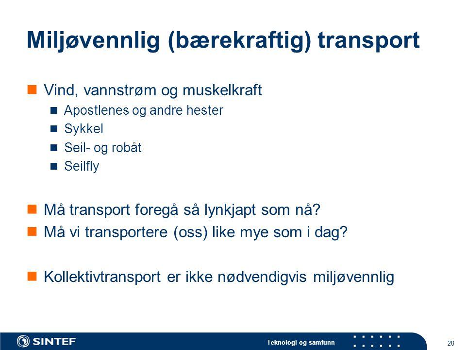 Miljøvennlig (bærekraftig) transport