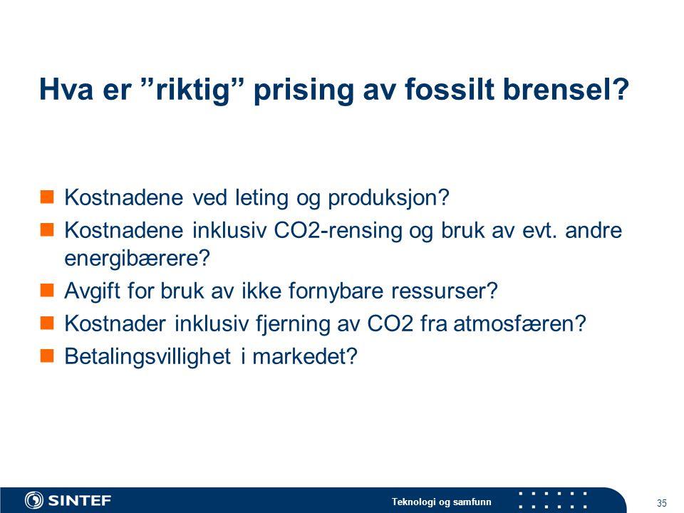Hva er riktig prising av fossilt brensel