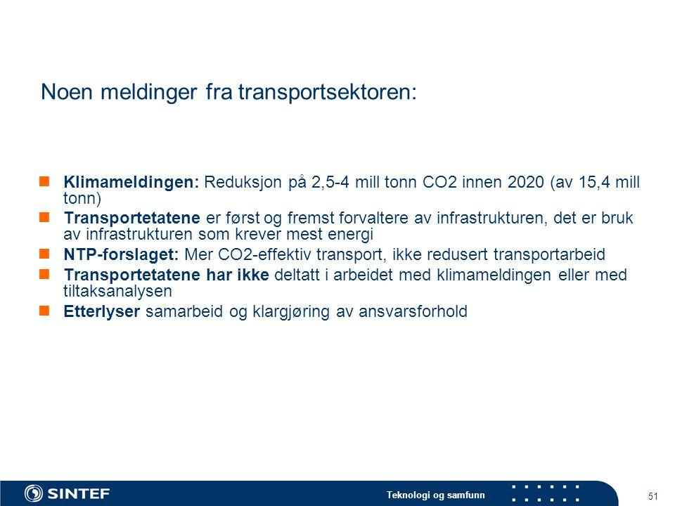 Noen meldinger fra transportsektoren: