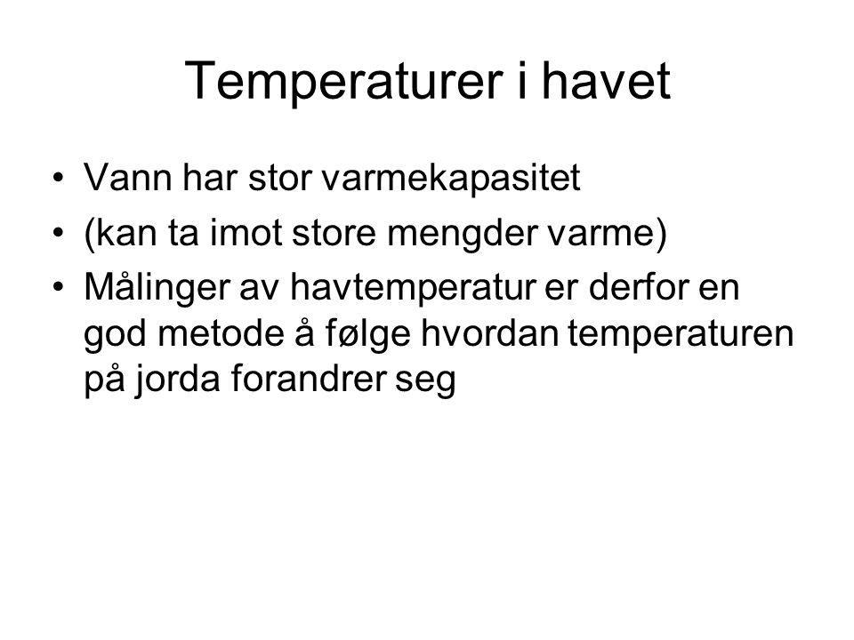Temperaturer i havet Vann har stor varmekapasitet