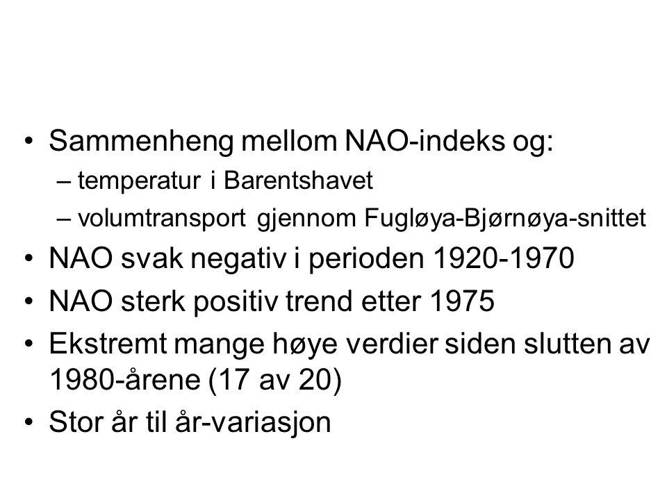 Sammenheng mellom NAO-indeks og: