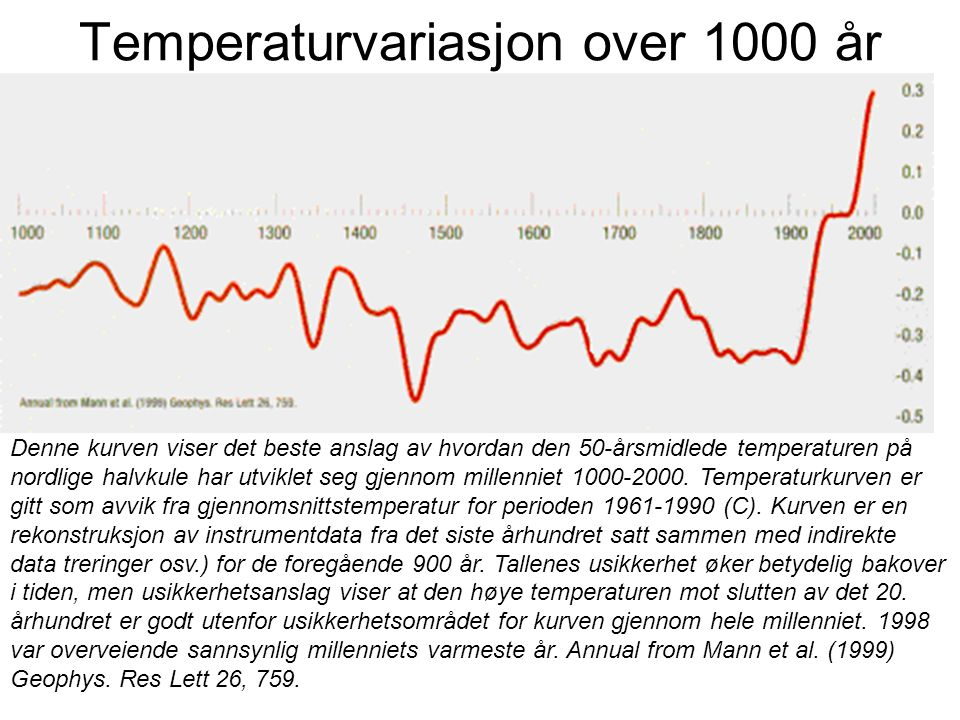 Temperaturvariasjon over 1000 år