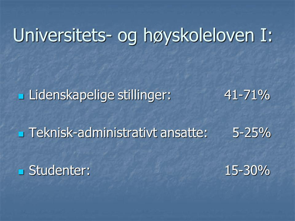 Universitets- og høyskoleloven I: