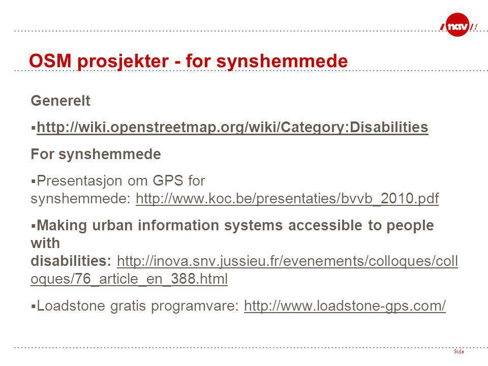 OSM prosjekter - for synshemmede