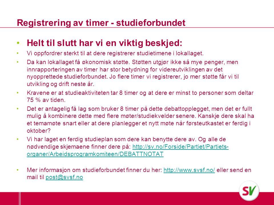 Registrering av timer - studieforbundet