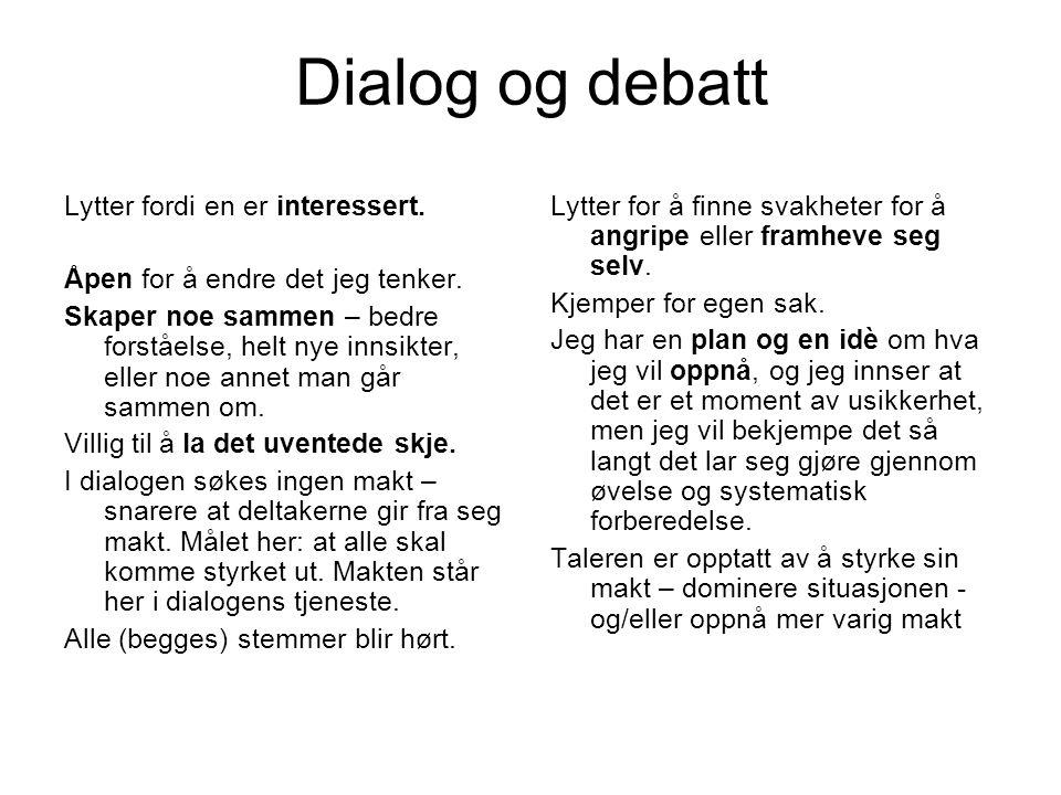 Dialog og debatt Lytter fordi en er interessert.