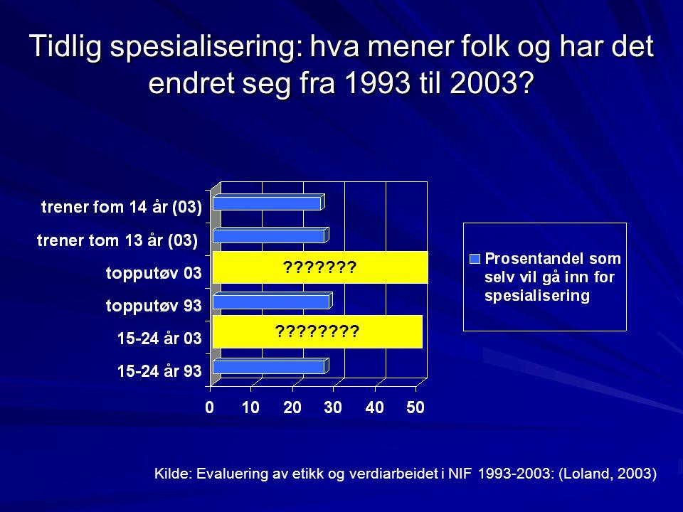 Tidlig spesialisering: hva mener folk og har det endret seg fra 1993 til 2003