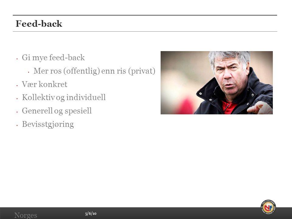 Feed-back Gi mye feed-back Mer ros (offentlig) enn ris (privat)