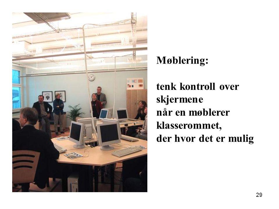 Møblering: tenk kontroll over skjermene når en møblerer klasserommet, der hvor det er mulig
