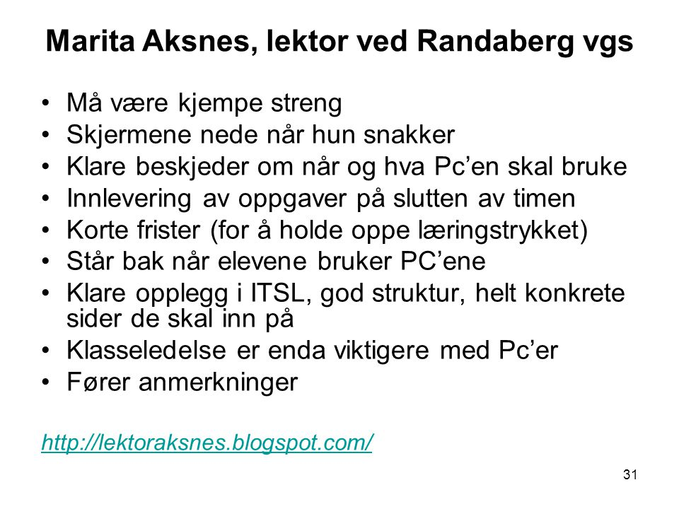 Marita Aksnes, lektor ved Randaberg vgs