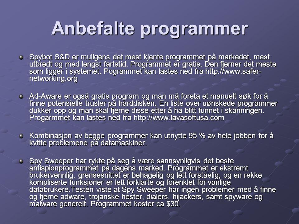 Anbefalte programmer