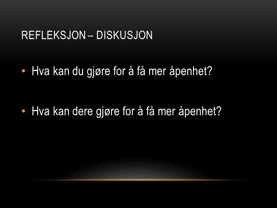 Refleksjon – diskusjon