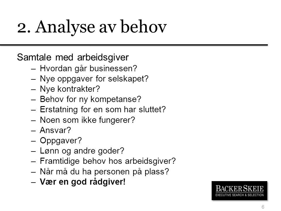 2. Analyse av behov Samtale med arbeidsgiver Hvordan går businessen