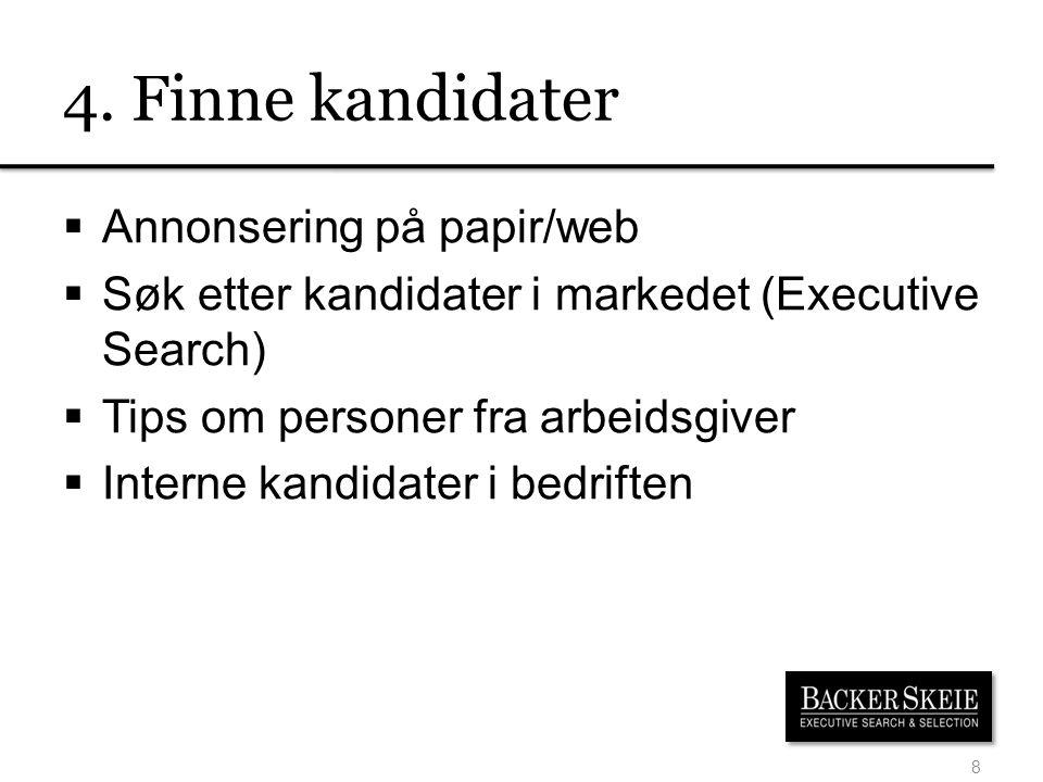 4. Finne kandidater Annonsering på papir/web