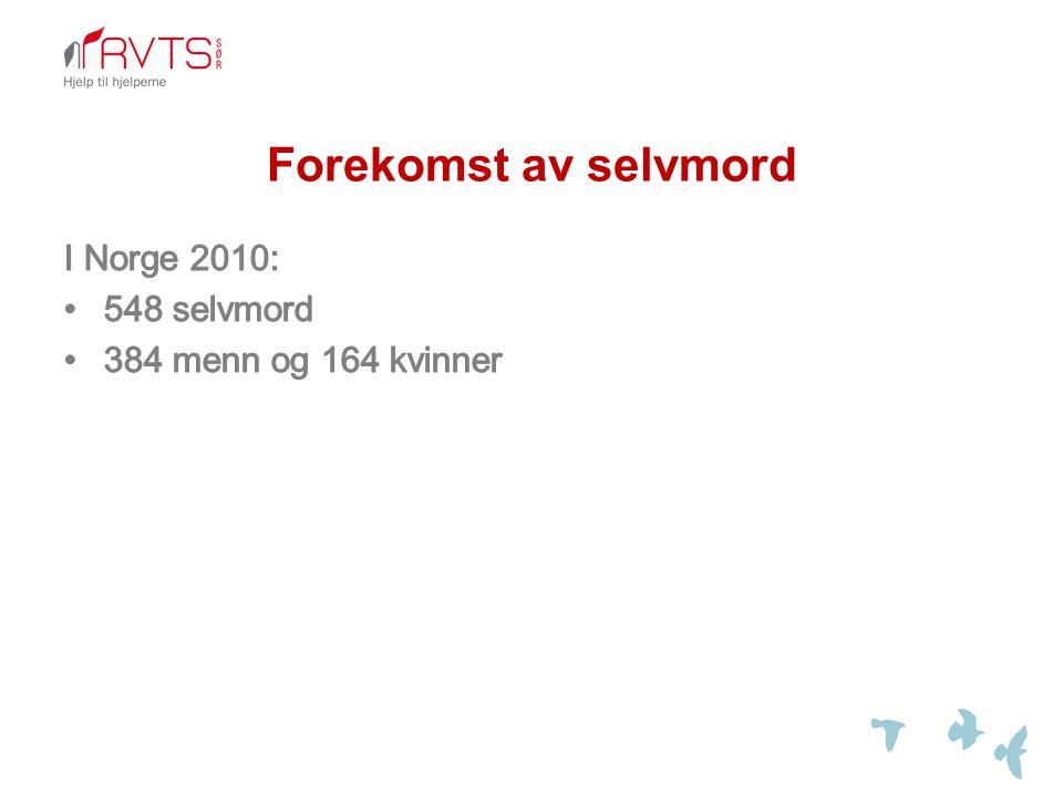 Forekomst av selvmord I Norge 2010: 548 selvmord
