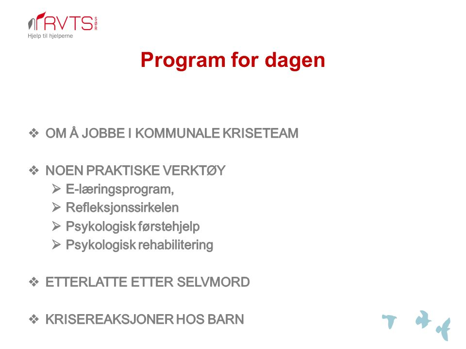 Program for dagen OM Å JOBBE I KOMMUNALE KRISETEAM