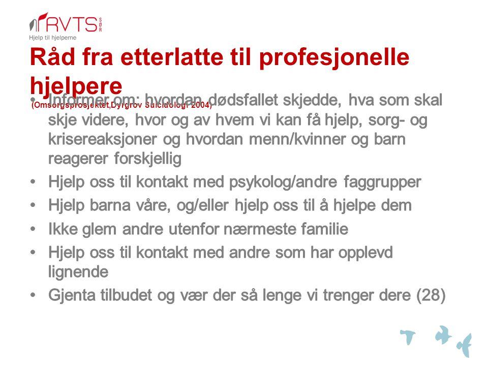 Råd fra etterlatte til profesjonelle hjelpere (Omsorgsprosjektet,Dyrgrov Suicidologi 2004)