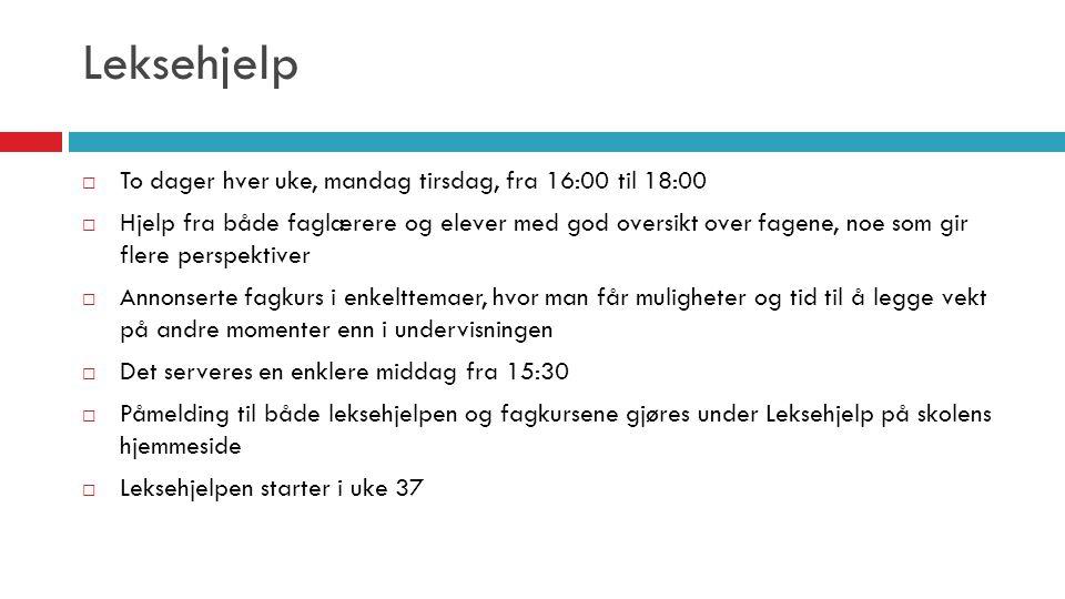 Leksehjelp To dager hver uke, mandag tirsdag, fra 16:00 til 18:00
