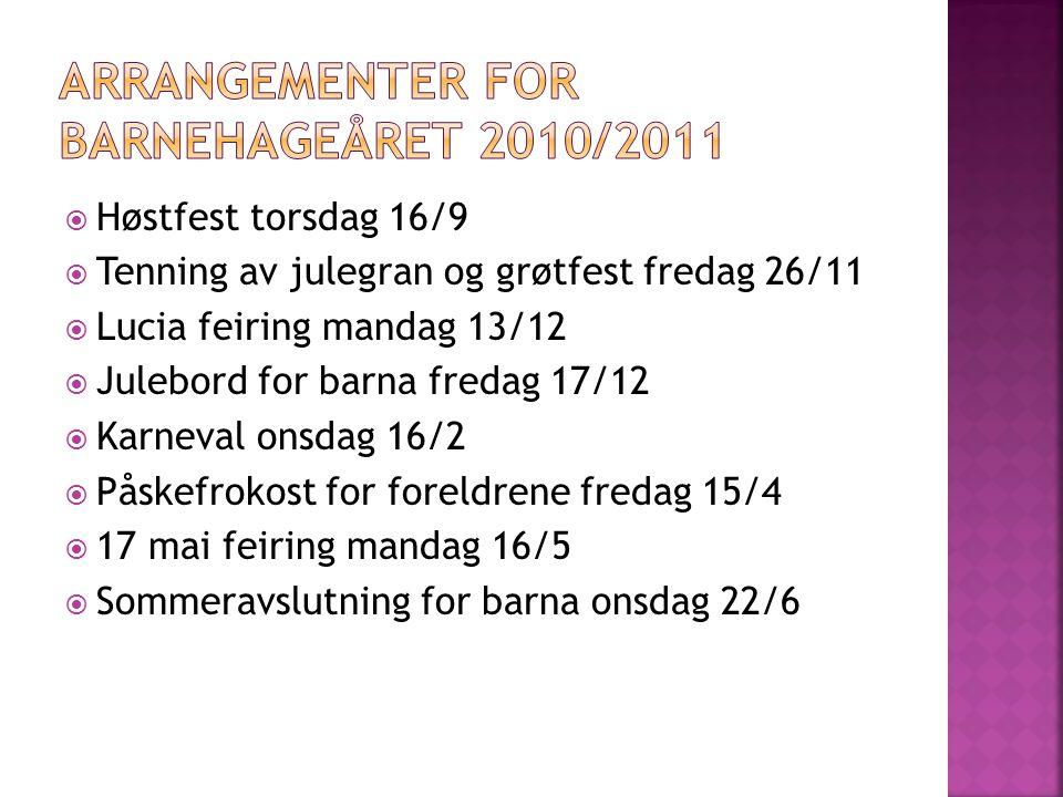 Arrangementer for barnehageåret 2010/2011