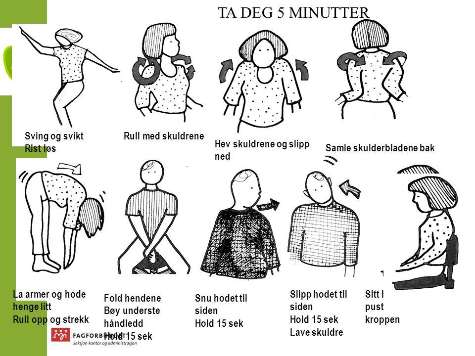 TA DEG 5 MINUTTER Sving og svikt Rist løs Rull med skuldrene