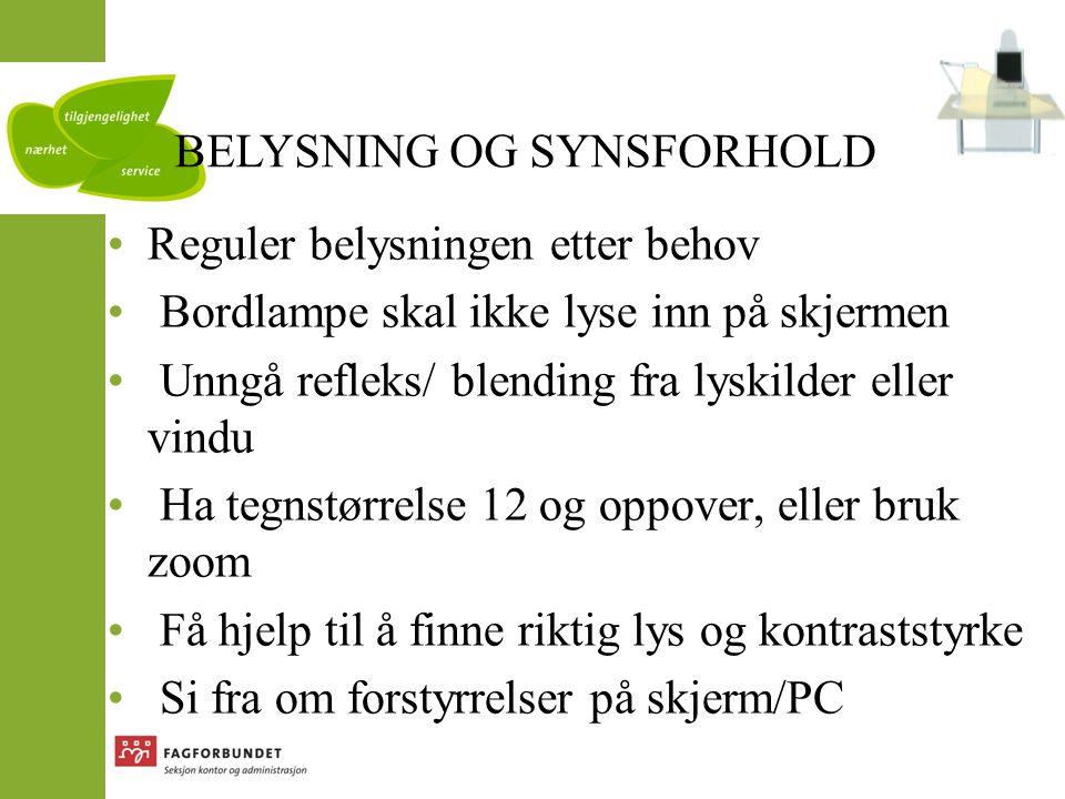 BELYSNING OG SYNSFORHOLD