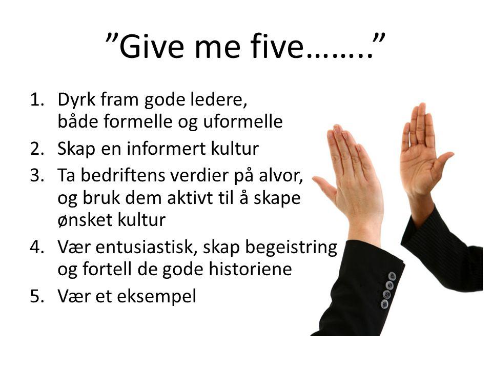 Give me five…….. Dyrk fram gode ledere, både formelle og uformelle