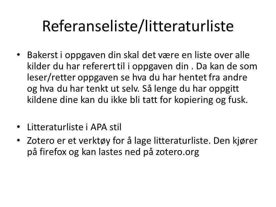 Referanseliste/litteraturliste