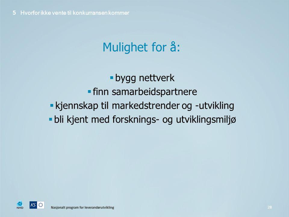 Mulighet for å: bygg nettverk finn samarbeidspartnere