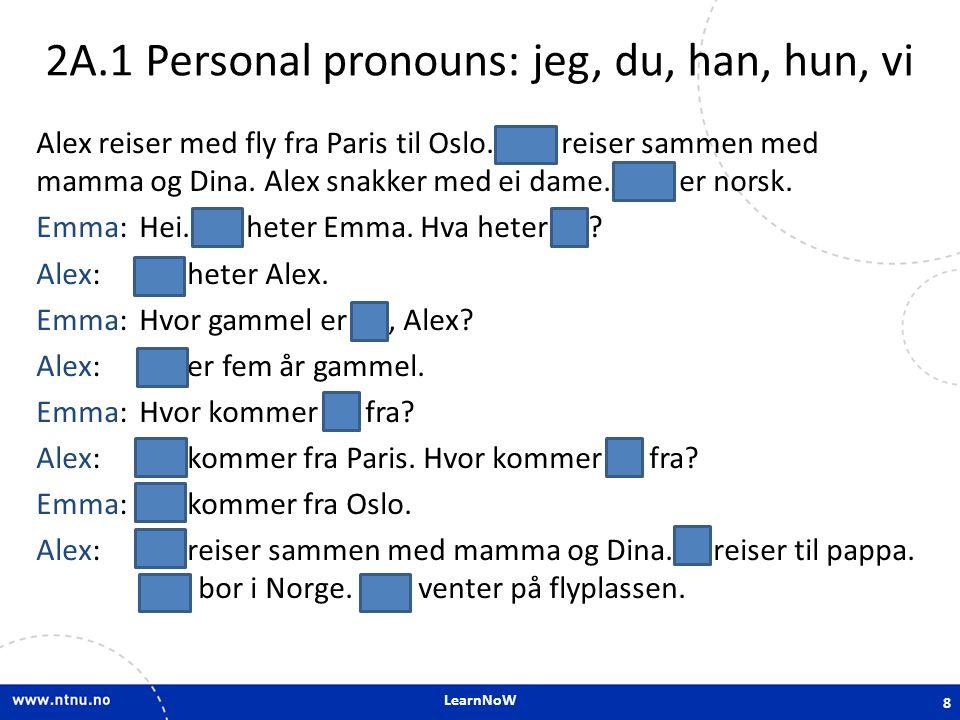 2A.1 Personal pronouns: jeg, du, han, hun, vi