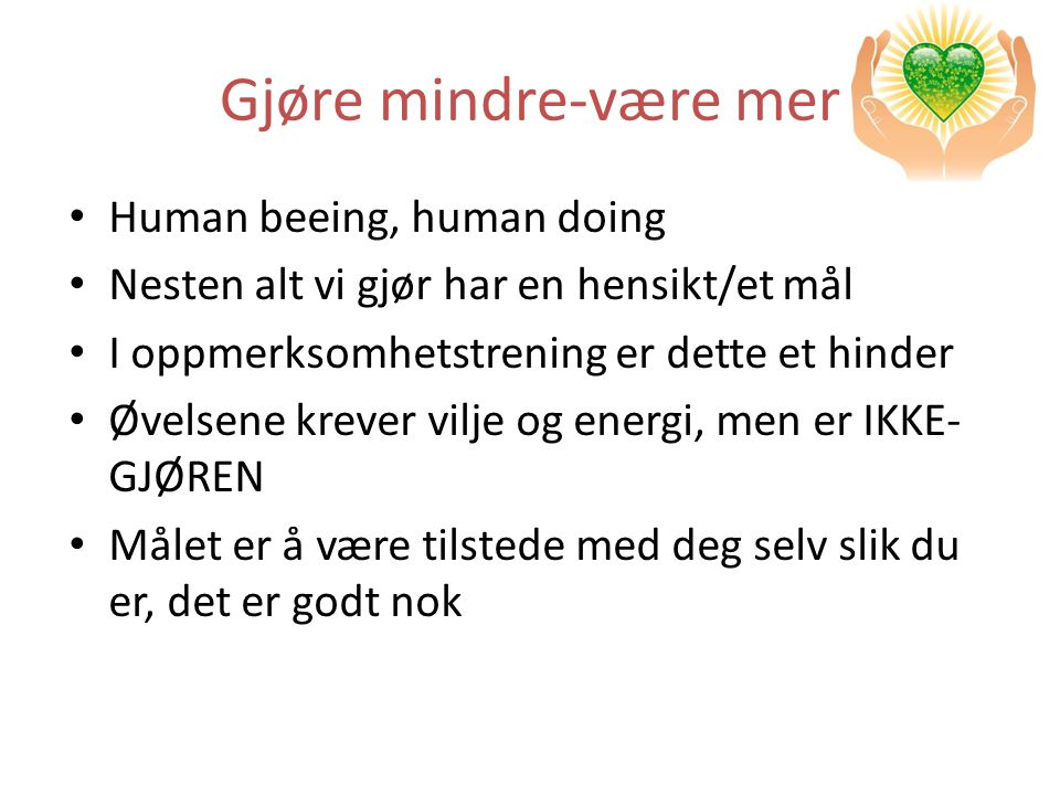 Gjøre mindre-være mer Human beeing, human doing