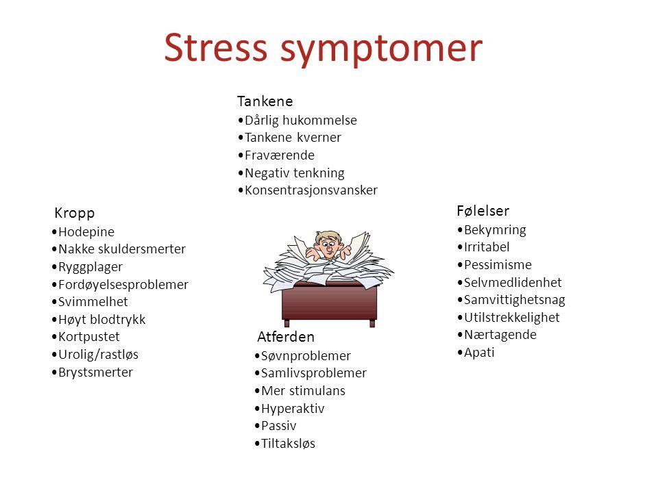 Stress symptomer Tankene Kropp Følelser Atferden Dårlig hukommelse
