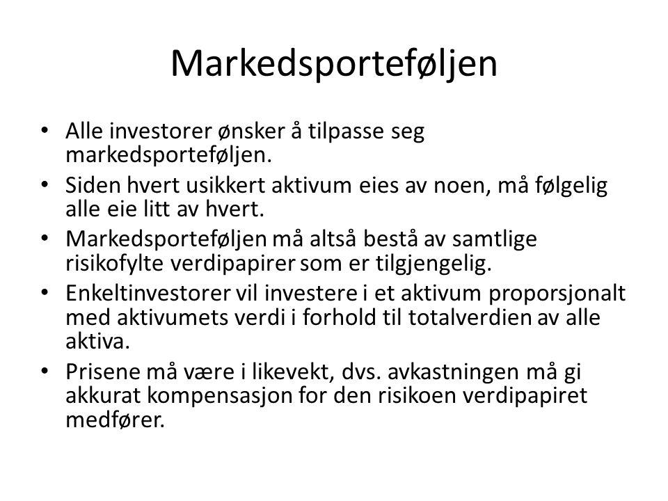 Markedsporteføljen Alle investorer ønsker å tilpasse seg markedsporteføljen.