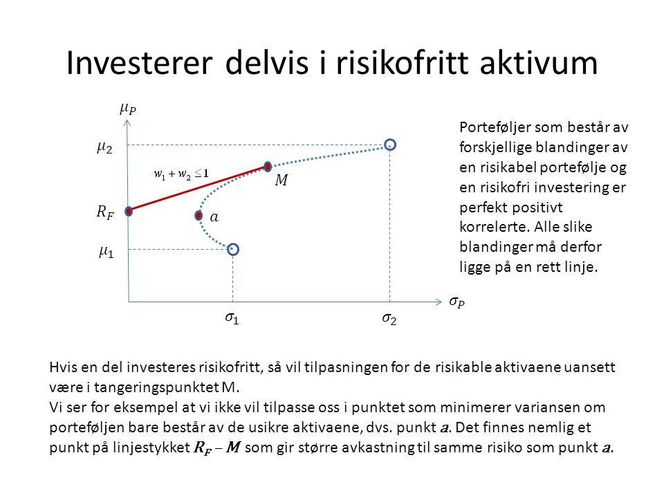 Investerer delvis i risikofritt aktivum