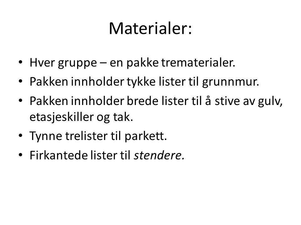 Materialer: Hver gruppe – en pakke trematerialer.