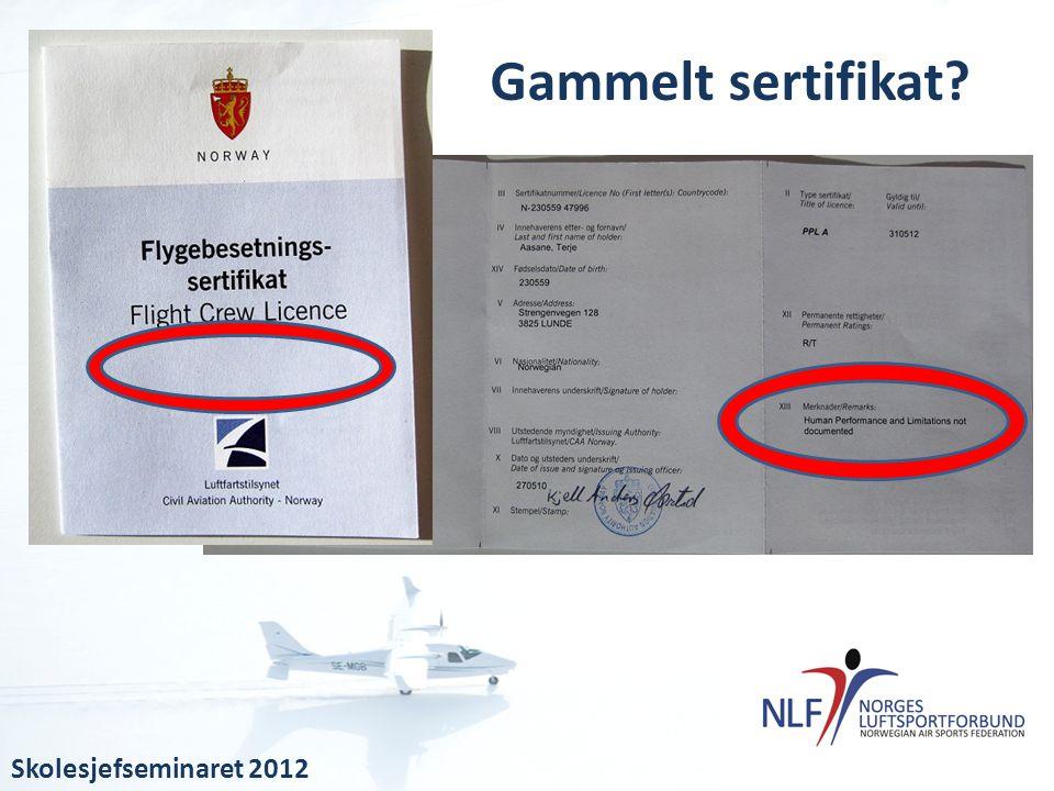 Gammelt sertifikat Skolesjefseminaret 2012