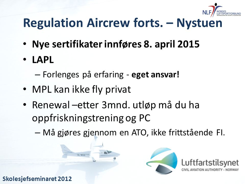 Regulation Aircrew forts. – Nystuen