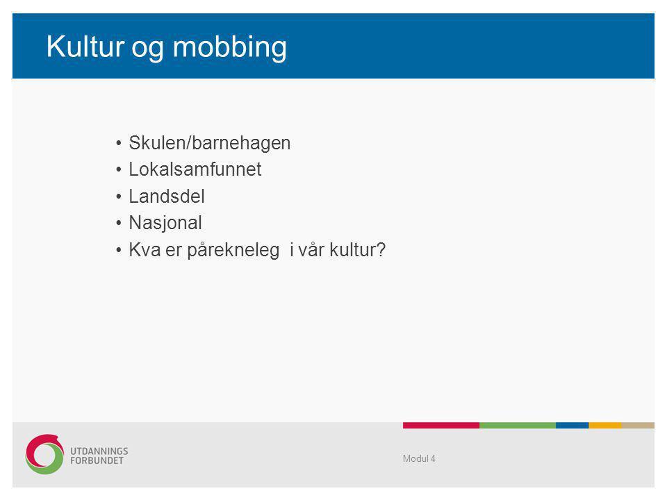 Kultur og mobbing Skulen/barnehagen Lokalsamfunnet Landsdel Nasjonal