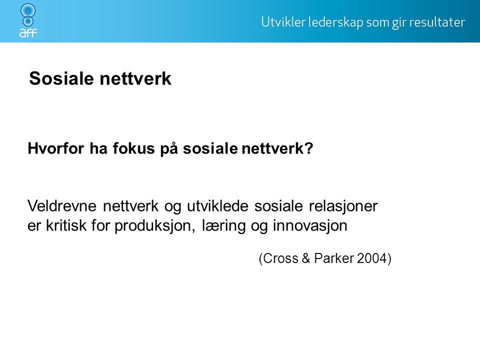 Sosiale nettverk Hvorfor ha fokus på sosiale nettverk
