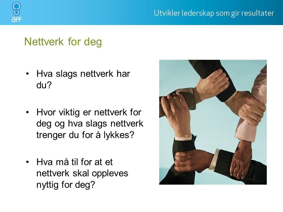 Nettverk for deg Hva slags nettverk har du