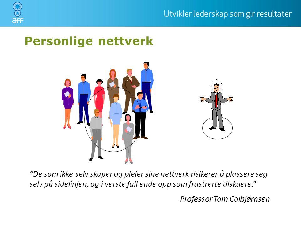 Personlige nettverk Er dere enig i dette Hva tenker dere