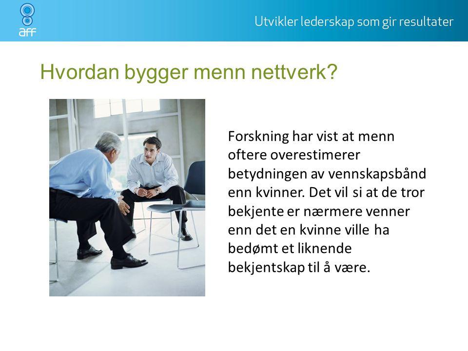 Hvordan bygger menn nettverk