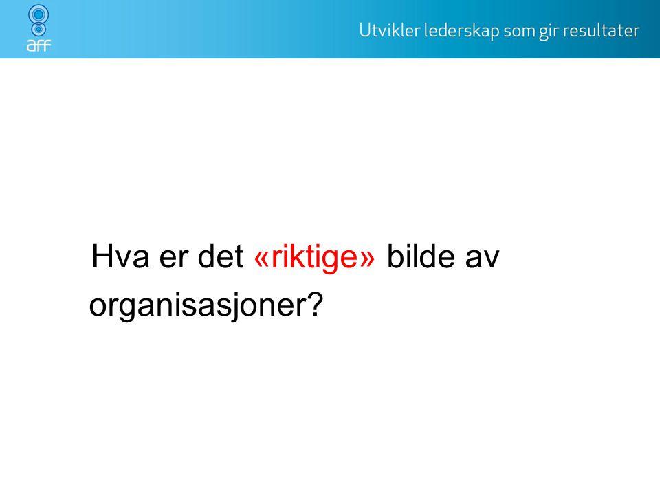 Hva er det «riktige» bilde av organisasjoner organisasjonen