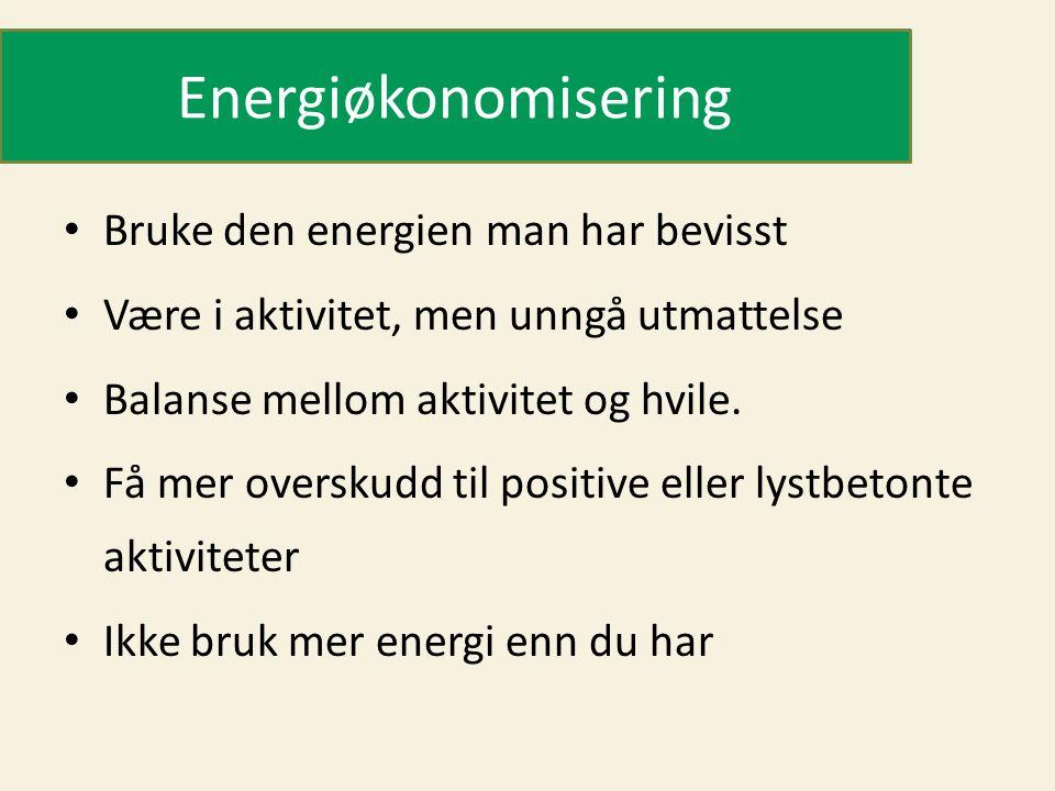 Energiøkonomisering Bruke den energien man har bevisst