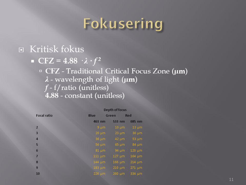 Fokusering Kritisk fokus CFZ = 4.88 · λ · f 2