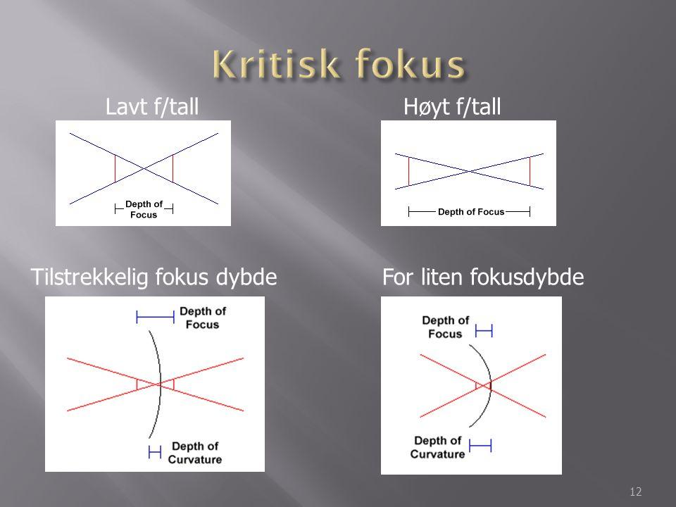 Kritisk fokus Lavt f/tall Høyt f/tall Tilstrekkelig fokus dybde